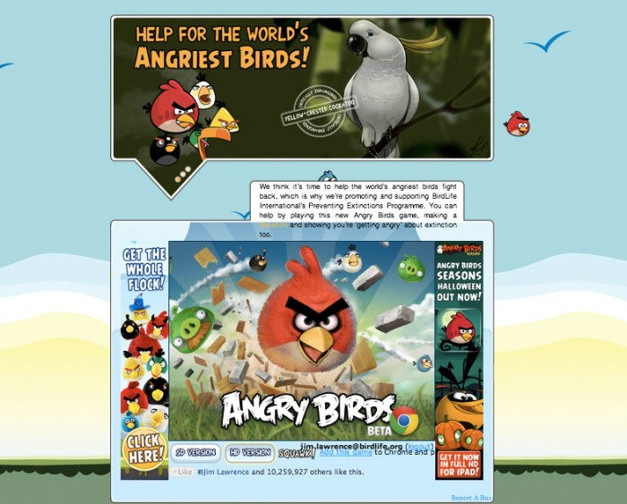 Angry birds Birdlife website